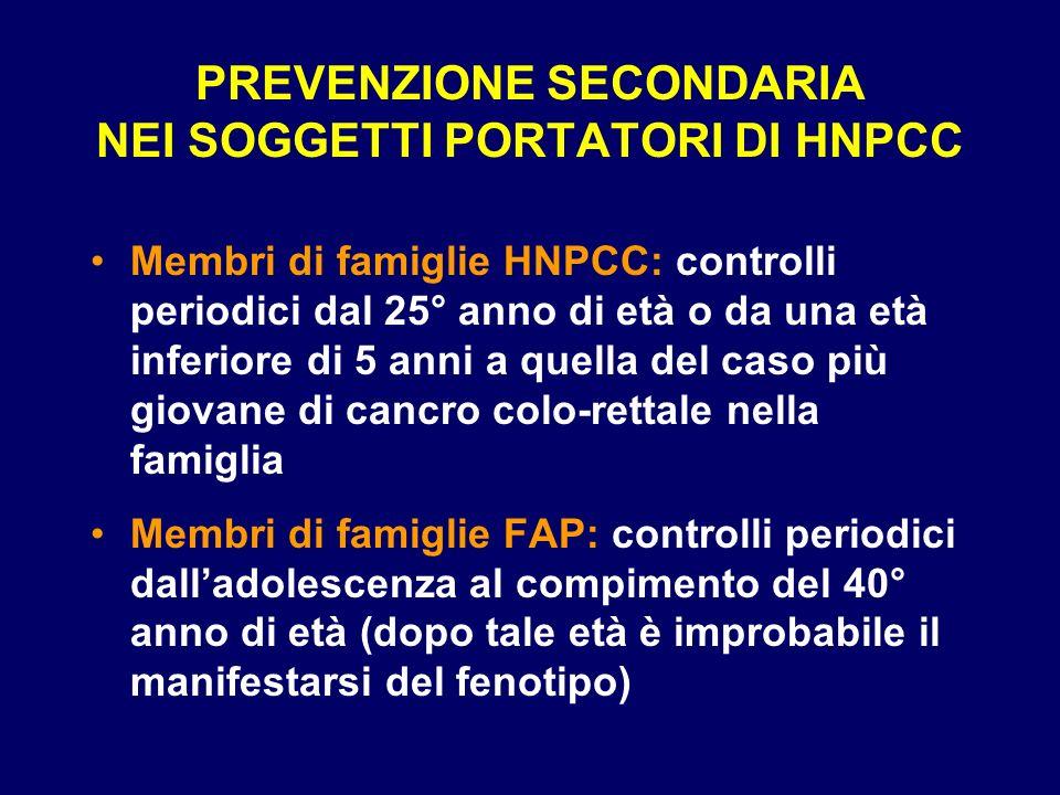 PREVENZIONE SECONDARIA NEI SOGGETTI PORTATORI DI HNPCC Membri di famiglie HNPCC: controlli periodici dal 25° anno di età o da una età inferiore di 5 a