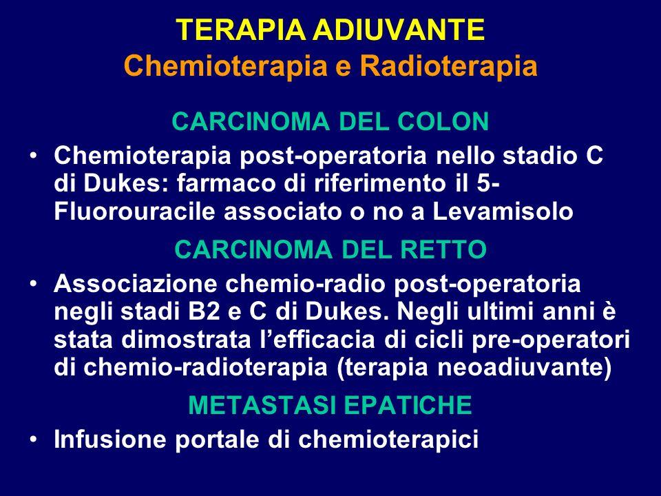 TERAPIA ADIUVANTE Chemioterapia e Radioterapia CARCINOMA DEL COLON Chemioterapia post-operatoria nello stadio C di Dukes: farmaco di riferimento il 5-