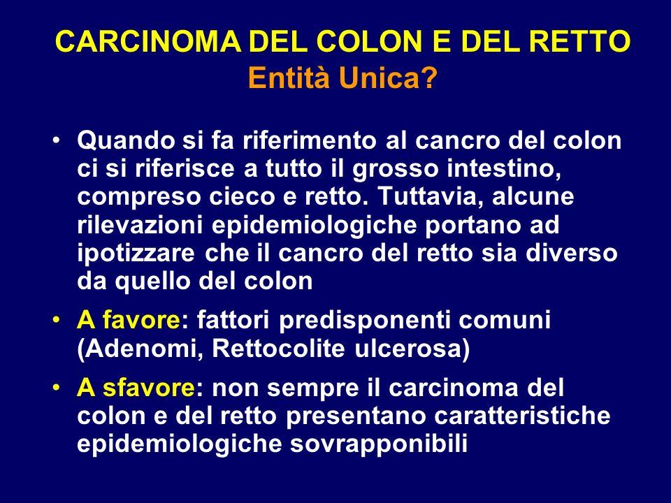 CARCINOMA DEL COLON E DEL RETTO Entità Unica? Quando si fa riferimento al cancro del colon ci si riferisce a tutto il grosso intestino, compreso cieco