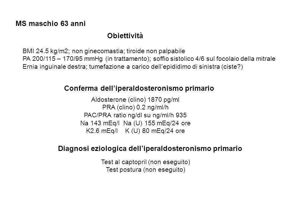 MS maschio 63 anni Obiettività BMI 24.5 kg/m2; non ginecomastia; tiroide non palpabile PA 200/115 – 170/95 mmHg (in trattamento); soffio sistolico 4/6