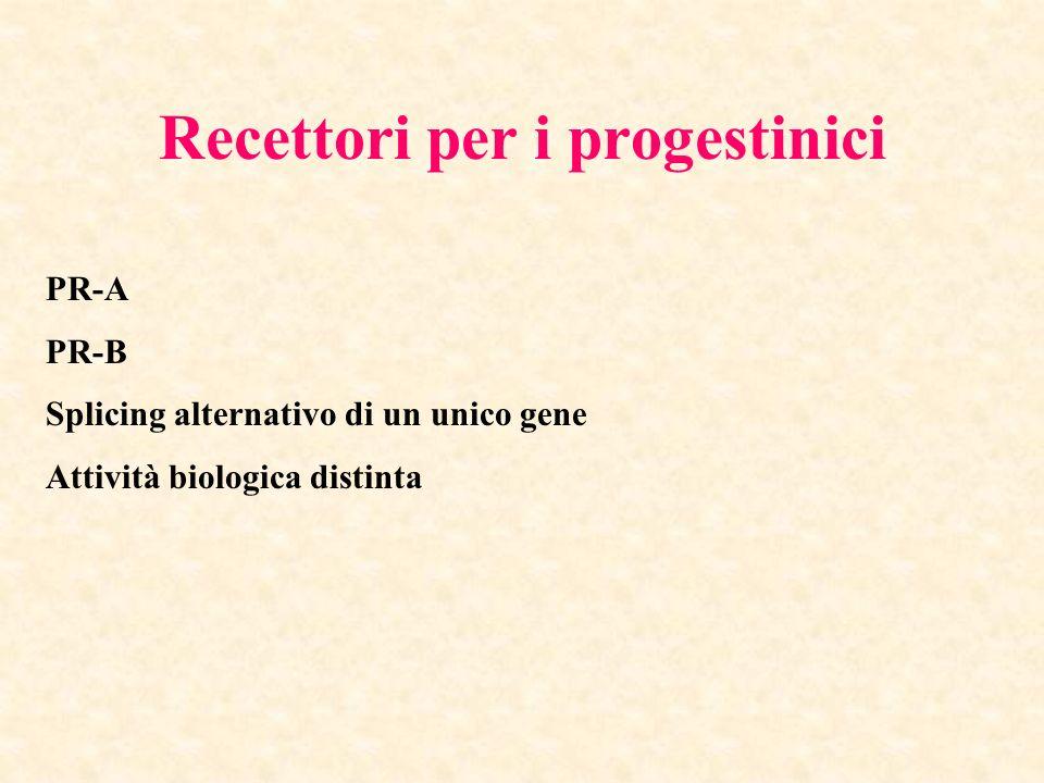 Recettori per i progestinici PR-A PR-B Splicing alternativo di un unico gene Attività biologica distinta