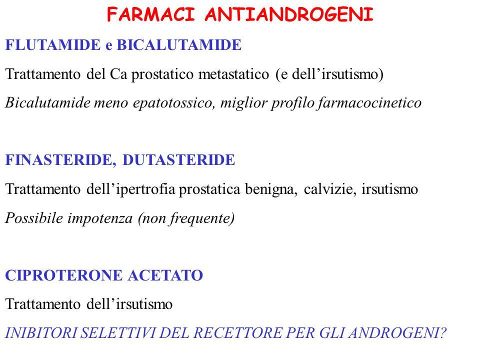 FARMACI ANTIANDROGENI FLUTAMIDE e BICALUTAMIDE Trattamento del Ca prostatico metastatico (e dellirsutismo) Bicalutamide meno epatotossico, miglior pro
