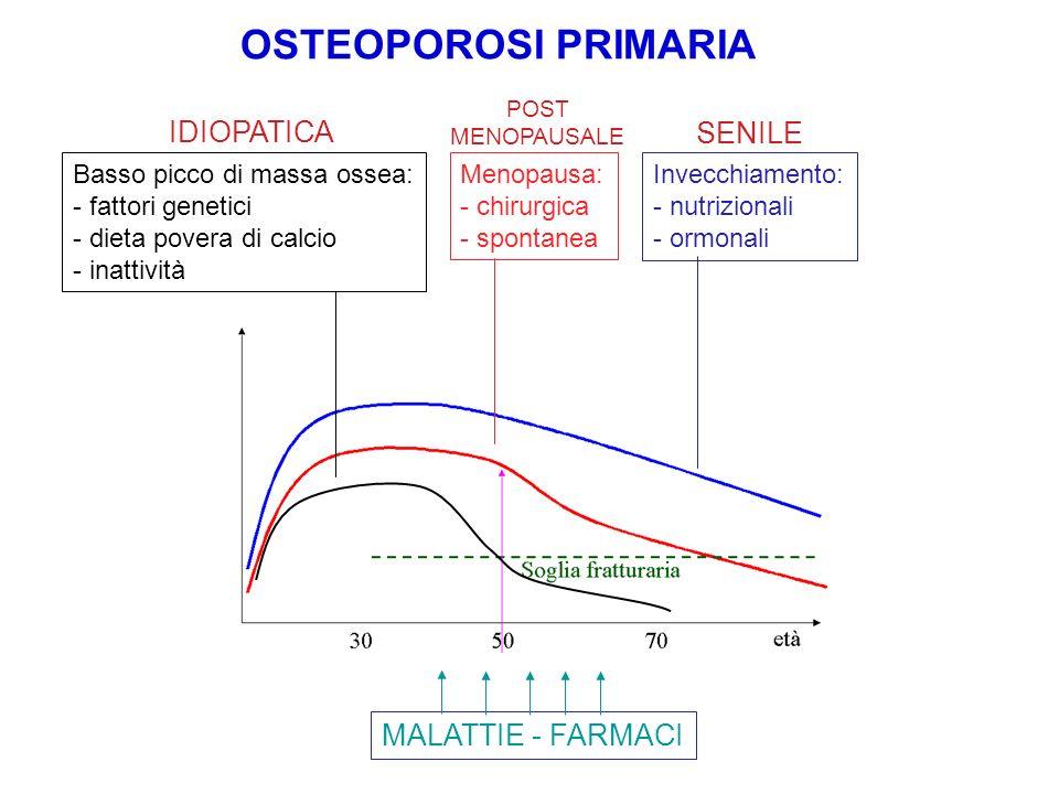 OSTEOPOROSI PRIMARIA Basso picco di massa ossea: - fattori genetici - dieta povera di calcio - inattività Menopausa: - chirurgica - spontanea Invecchi