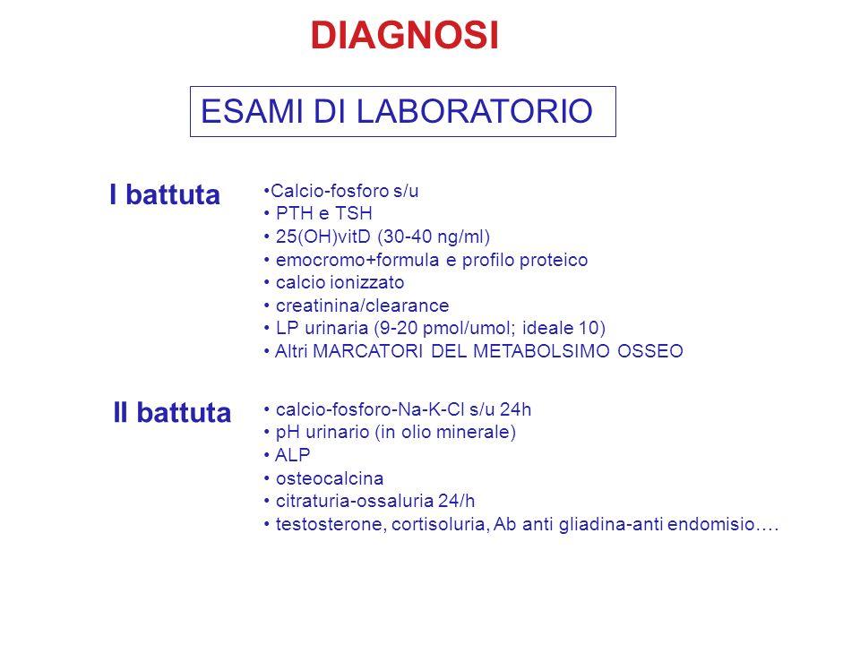 DIAGNOSI ESAMI DI LABORATORIO Calcio-fosforo s/u PTH e TSH 25(OH)vitD (30-40 ng/ml) emocromo+formula e profilo proteico calcio ionizzato creatinina/cl