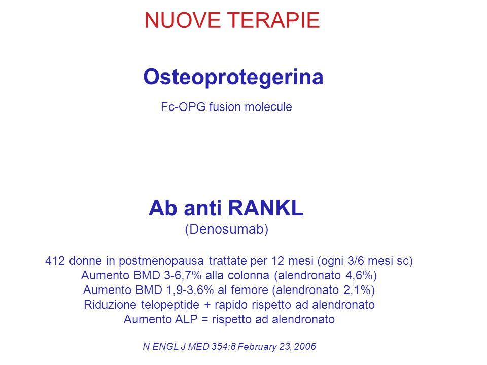 NUOVE TERAPIE Osteoprotegerina Ab anti RANKL (Denosumab) Fc-OPG fusion molecule 412 donne in postmenopausa trattate per 12 mesi (ogni 3/6 mesi sc) Aum