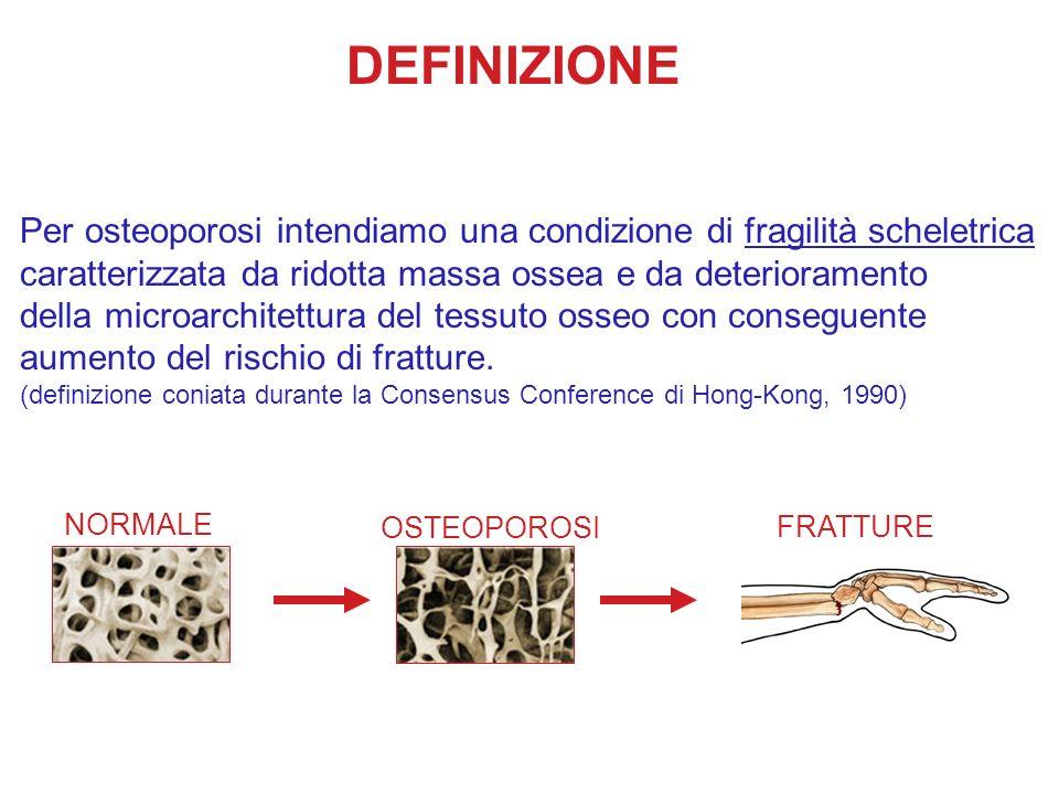 DEFINIZIONE Per osteoporosi intendiamo una condizione di fragilità scheletrica caratterizzata da ridotta massa ossea e da deterioramento della microar