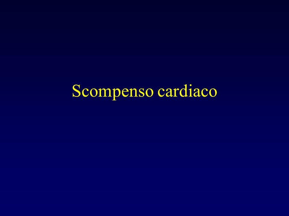 Definizione I Inevitabile conseguenza di uninsufficienza della pompa cardiaca, causata il piu delle volte da una perdita di tessuto contrattile come tipicamente il caso dellinfarto o piu raramente da una compromissione primitiva dell afunzione ventricolare