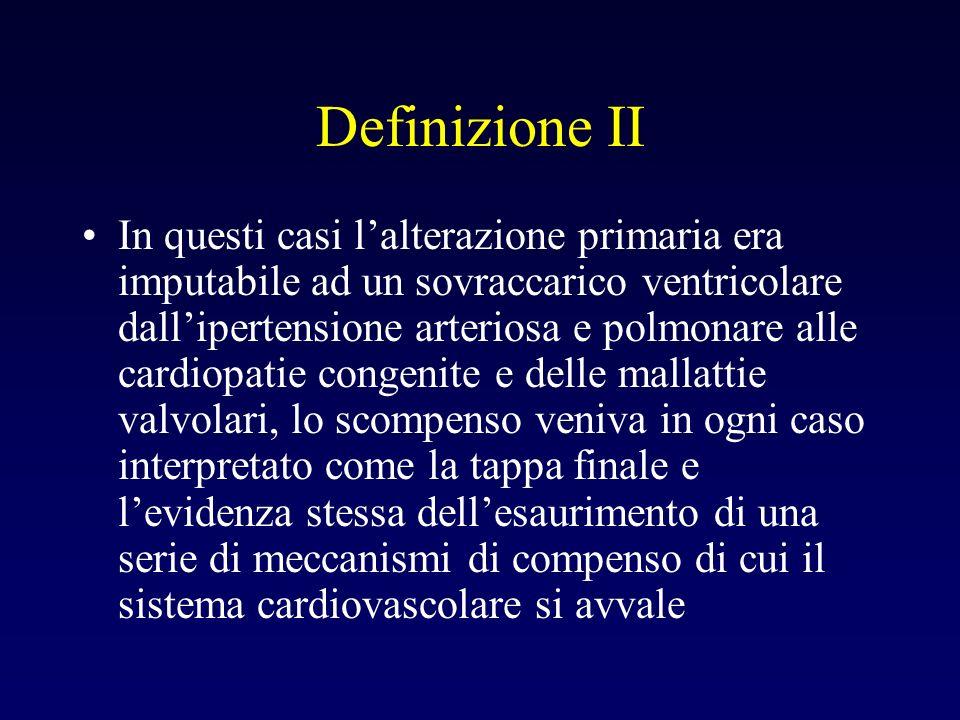 Definizione II In questi casi lalterazione primaria era imputabile ad un sovraccarico ventricolare dallipertensione arteriosa e polmonare alle cardiop