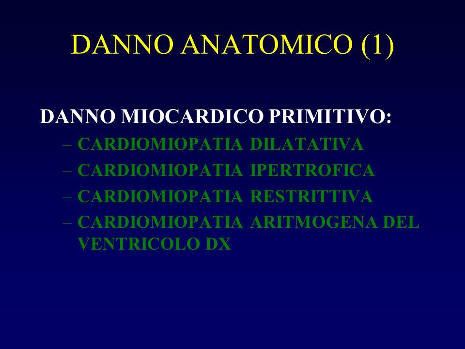 DANNO ANATOMICO (1) DANNO MIOCARDICO PRIMITIVO: –CARDIOMIOPATIA DILATATIVA –CARDIOMIOPATIA IPERTROFICA –CARDIOMIOPATIA RESTRITTIVA –CARDIOMIOPATIA ARI