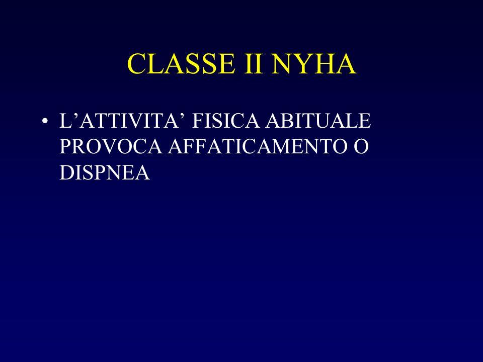 CLASSE II NYHA LATTIVITA FISICA ABITUALE PROVOCA AFFATICAMENTO O DISPNEA