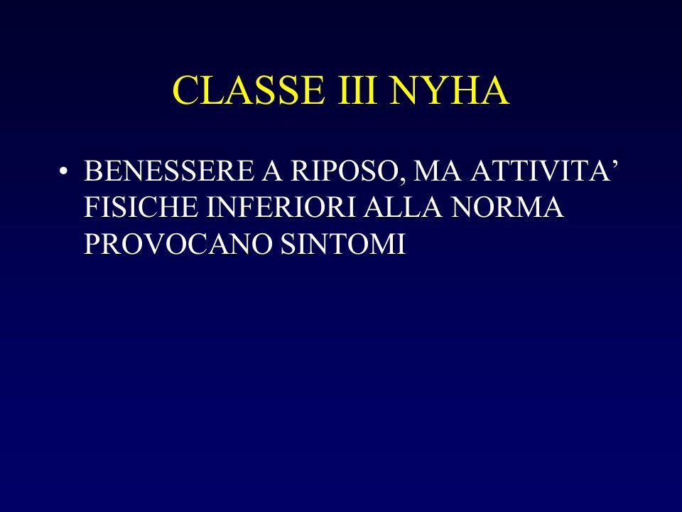 CLASSE III NYHA BENESSERE A RIPOSO, MA ATTIVITA FISICHE INFERIORI ALLA NORMA PROVOCANO SINTOMI