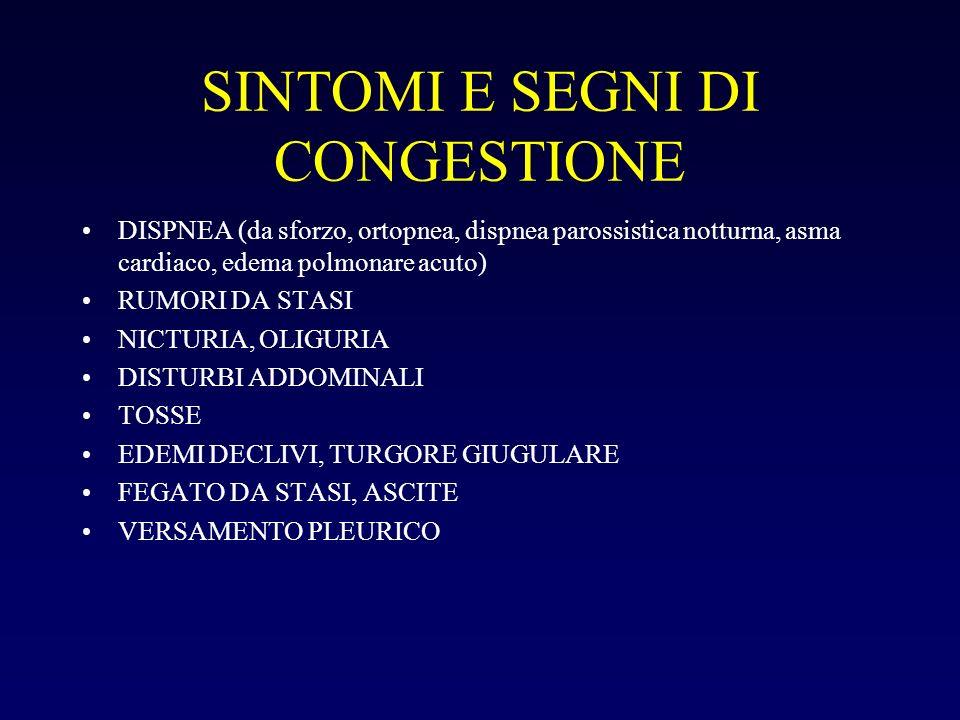 SINTOMI E SEGNI DI CONGESTIONE DISPNEA (da sforzo, ortopnea, dispnea parossistica notturna, asma cardiaco, edema polmonare acuto) RUMORI DA STASI NICT