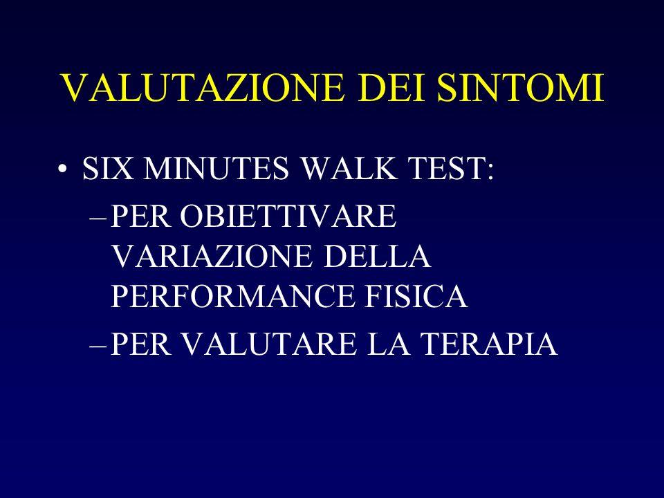 VALUTAZIONE DEI SINTOMI SIX MINUTES WALK TEST: –PER OBIETTIVARE VARIAZIONE DELLA PERFORMANCE FISICA –PER VALUTARE LA TERAPIA