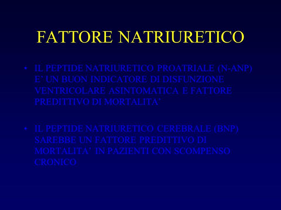 FATTORE NATRIURETICO IL PEPTIDE NATRIURETICO PROATRIALE (N-ANP) E UN BUON INDICATORE DI DISFUNZIONE VENTRICOLARE ASINTOMATICA E FATTORE PREDITTIVO DI