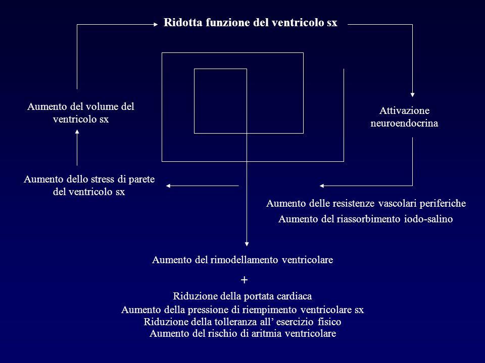 Ridotta funzione del ventricolo sx Aumento del volume del ventricolo sx Aumento dello stress di parete del ventricolo sx Attivazione neuroendocrina Au