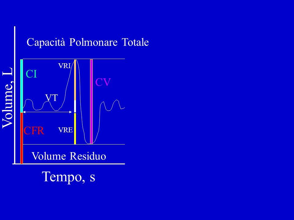 Volume Residuo Capacità Polmonare Totale CI CFR Tempo, s Volume, L CV VT VRE VRI