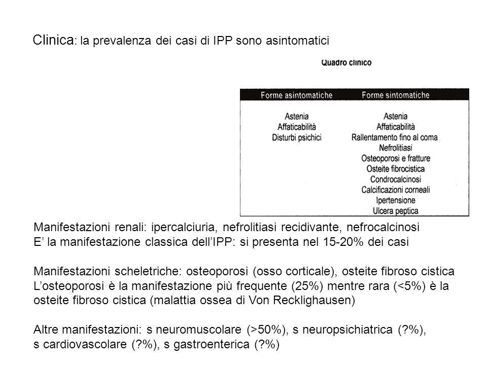 Clinica : la prevalenza dei casi di IPP sono asintomatici Manifestazioni renali: ipercalciuria, nefrolitiasi recidivante, nefrocalcinosi E la manifest