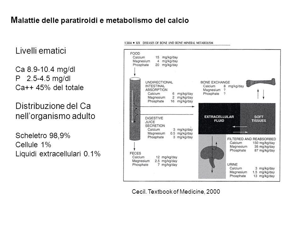 M alattie delle paratiroidi e metabolismo del calcio Livelli ematici Ca 8.9-10.4 mg/dl P 2.5-4.5 mg/dl Ca++ 45% del totale Distribuzione del Ca nellor