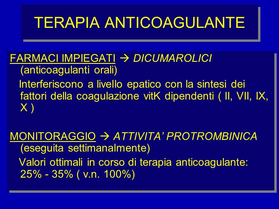 TERAPIA ANTICOAGULANTE FARMACI IMPIEGATI DICUMAROLICI (anticoagulanti orali) Interferiscono a livello epatico con la sintesi dei fattori della coagula