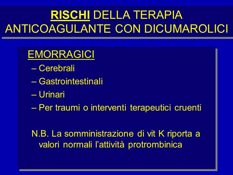 RISCHI DELLA TERAPIA ANTICOAGULANTE CON DICUMAROLICI EMORRAGICI –Cerebrali –Gastrointestinali –Urinari –Per traumi o interventi terapeutici cruenti N.