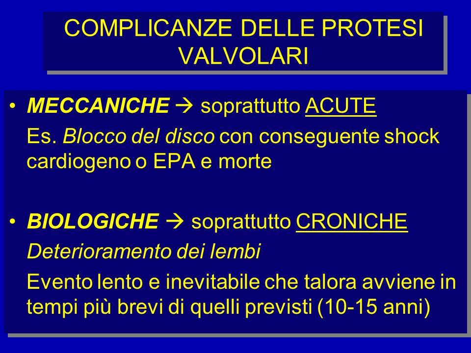 COMPLICANZE DELLE PROTESI VALVOLARI MECCANICHE soprattutto ACUTE Es. Blocco del disco con conseguente shock cardiogeno o EPA e morte BIOLOGICHE soprat