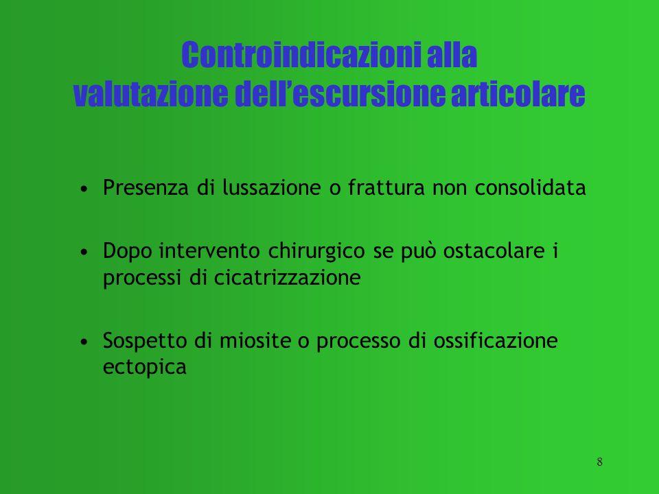 8 Controindicazioni alla valutazione dellescursione articolare Presenza di lussazione o frattura non consolidata Dopo intervento chirurgico se può ost