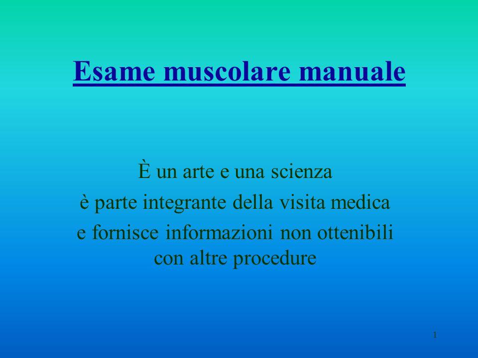 1 Esame muscolare manuale È un arte e una scienza è parte integrante della visita medica e fornisce informazioni non ottenibili con altre procedure