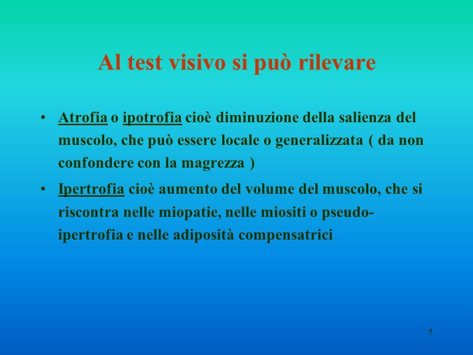 5 Al test visivo si può rilevare Atrofia o ipotrofia cioè diminuzione della salienza del muscolo, che può essere locale o generalizzata ( da non confo