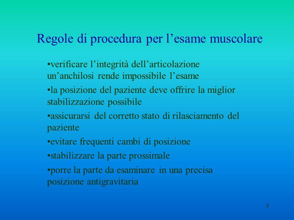 8 Regole di procedura per lesame muscolare verificare lintegrità dellarticolazione unanchilosi rende impossibile lesame la posizione del paziente deve