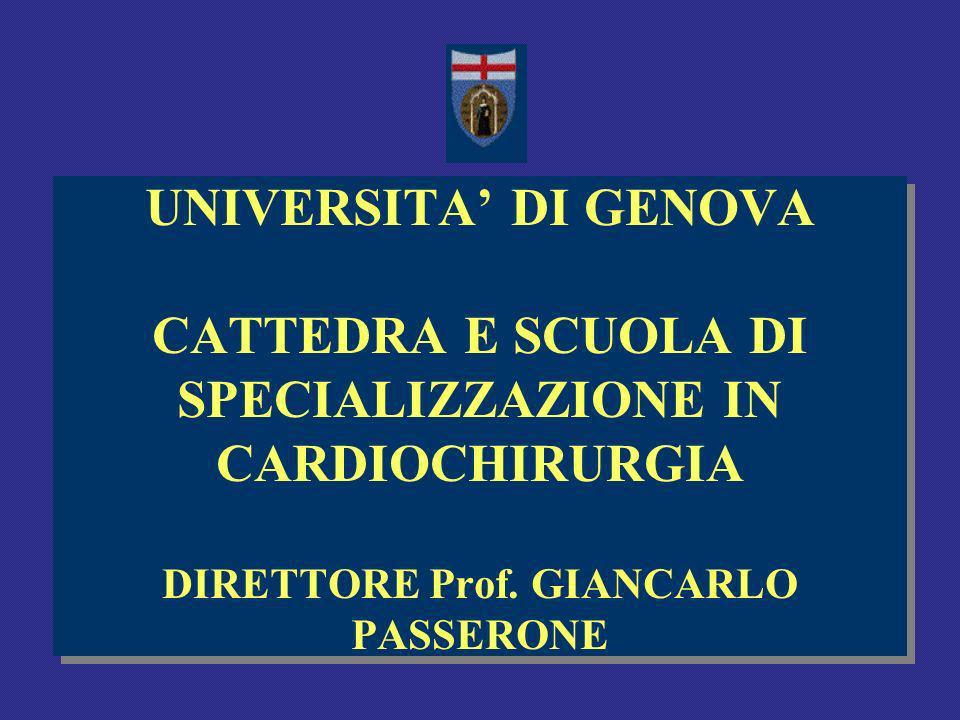 UNIVERSITA DI GENOVA CATTEDRA E SCUOLA DI SPECIALIZZAZIONE IN CARDIOCHIRURGIA DIRETTORE Prof.