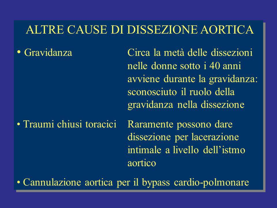 ALTRE CAUSE DI DISSEZIONE AORTICA GravidanzaCirca la metà delle dissezioni nelle donne sotto i 40 anni avviene durante la gravidanza: sconosciuto il ruolo della gravidanza nella dissezione Traumi chiusi toraciciRaramente possono dare dissezione per lacerazione intimale a livello dellistmo aortico Cannulazione aortica per il bypass cardio-polmonare ALTRE CAUSE DI DISSEZIONE AORTICA GravidanzaCirca la metà delle dissezioni nelle donne sotto i 40 anni avviene durante la gravidanza: sconosciuto il ruolo della gravidanza nella dissezione Traumi chiusi toraciciRaramente possono dare dissezione per lacerazione intimale a livello dellistmo aortico Cannulazione aortica per il bypass cardio-polmonare