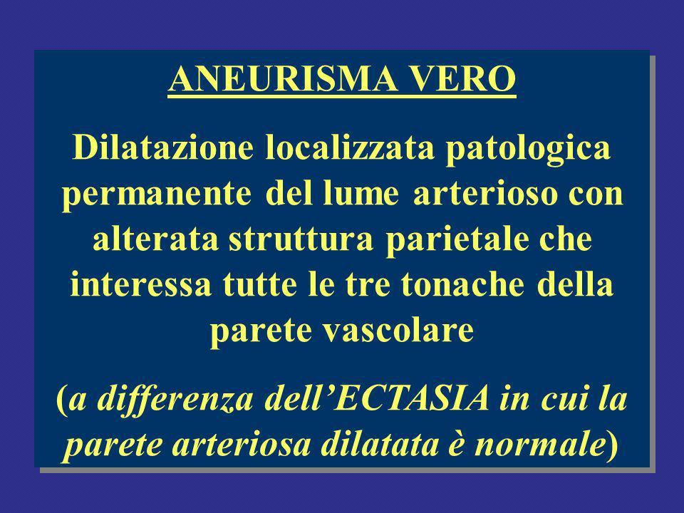 ANEURISMA VERO Dilatazione localizzata patologica permanente del lume arterioso con alterata struttura parietale che interessa tutte le tre tonache della parete vascolare (a differenza dellECTASIA in cui la parete arteriosa dilatata è normale) ANEURISMA VERO Dilatazione localizzata patologica permanente del lume arterioso con alterata struttura parietale che interessa tutte le tre tonache della parete vascolare (a differenza dellECTASIA in cui la parete arteriosa dilatata è normale)