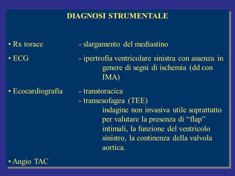 DIAGNOSI STRUMENTALE Rx torace- slargamento del mediastino ECG- ipertrofia ventricolare sinistra con assenza in genere di segni di ischemia (dd con IMA) Ecocardiografia- transtoracica - transesofagea (TEE) indagine non invasiva utile soprattutto per valutare la presenza di flap intimali, la funzione del ventricolo sinistro, la continenza della valvola aortica.