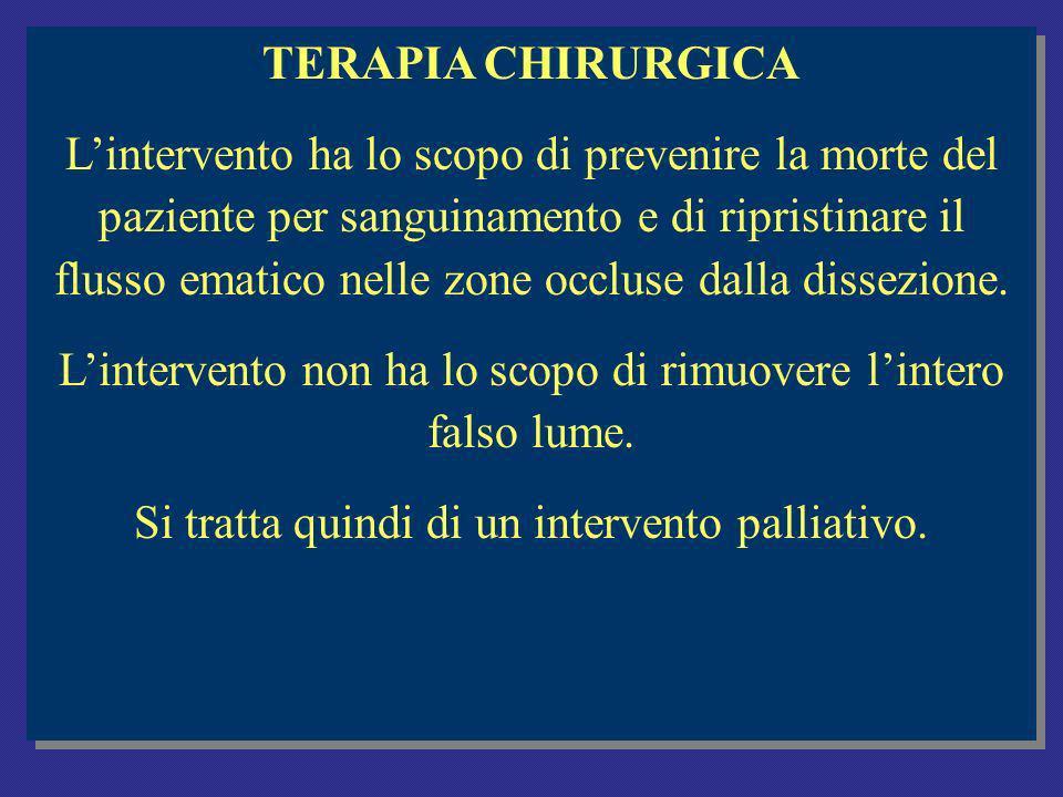 TERAPIA CHIRURGICA Lintervento ha lo scopo di prevenire la morte del paziente per sanguinamento e di ripristinare il flusso ematico nelle zone occluse dalla dissezione.