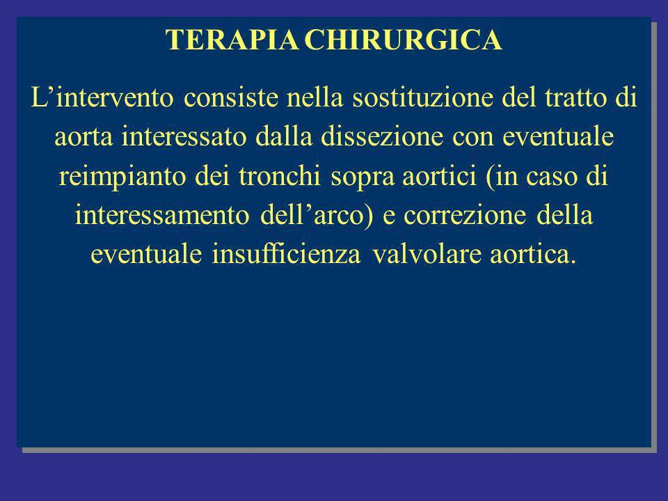 TERAPIA CHIRURGICA Lintervento consiste nella sostituzione del tratto di aorta interessato dalla dissezione con eventuale reimpianto dei tronchi sopra aortici (in caso di interessamento dellarco) e correzione della eventuale insufficienza valvolare aortica.
