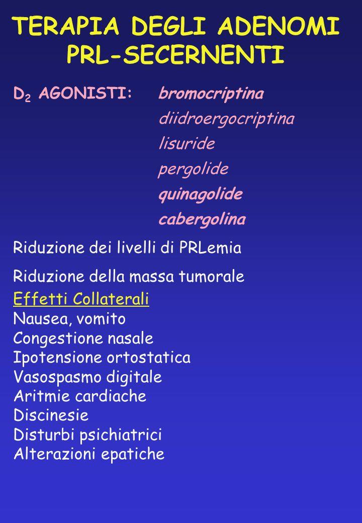 TERAPIA DEGLI ADENOMI PRL-SECERNENTI D 2 AGONISTI:bromocriptina diidroergocriptina lisuride pergolide quinagolide cabergolina Riduzione dei livelli di