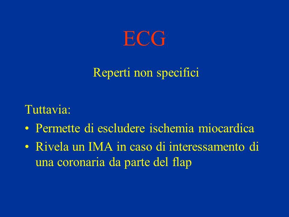 ECG Reperti non specifici Tuttavia: Permette di escludere ischemia miocardica Rivela un IMA in caso di interessamento di una coronaria da parte del fl