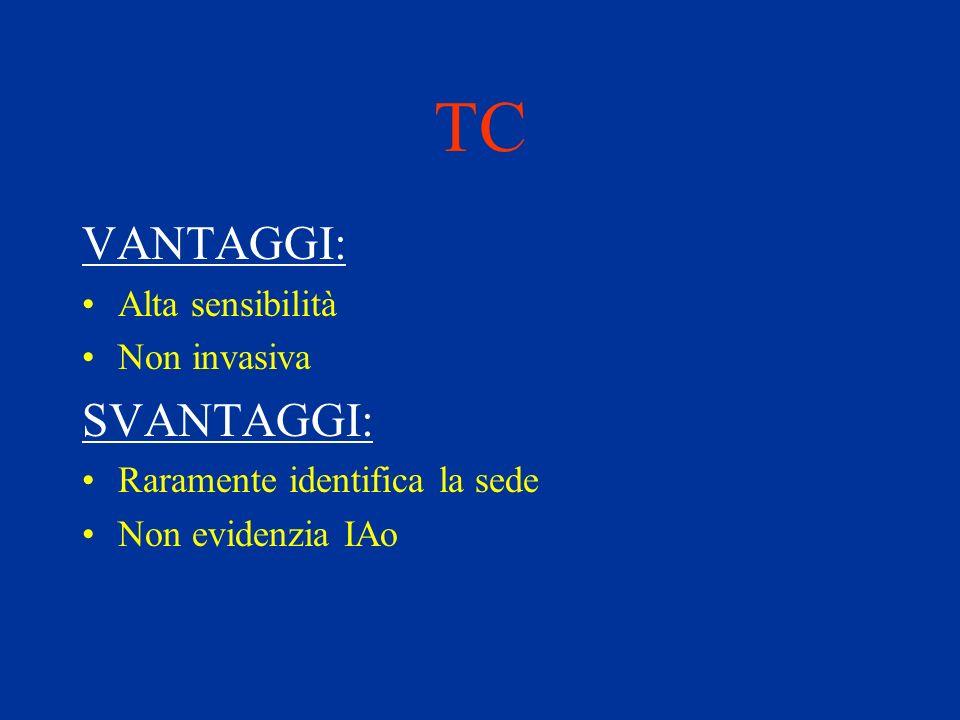 TC VANTAGGI: Alta sensibilità Non invasiva SVANTAGGI: Raramente identifica la sede Non evidenzia IAo