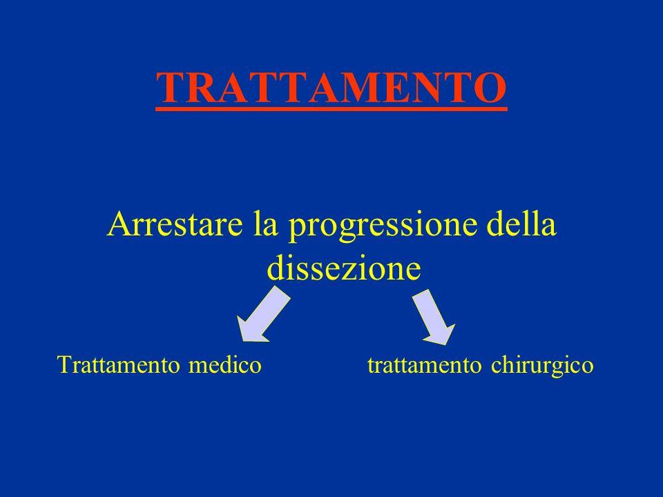 TRATTAMENTO Arrestare la progressione della dissezione Trattamento medico trattamento chirurgico