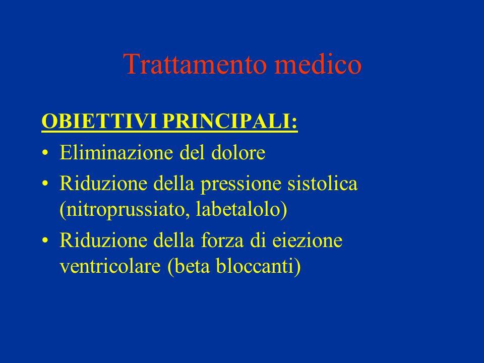 Trattamento medico OBIETTIVI PRINCIPALI: Eliminazione del dolore Riduzione della pressione sistolica (nitroprussiato, labetalolo) Riduzione della forz