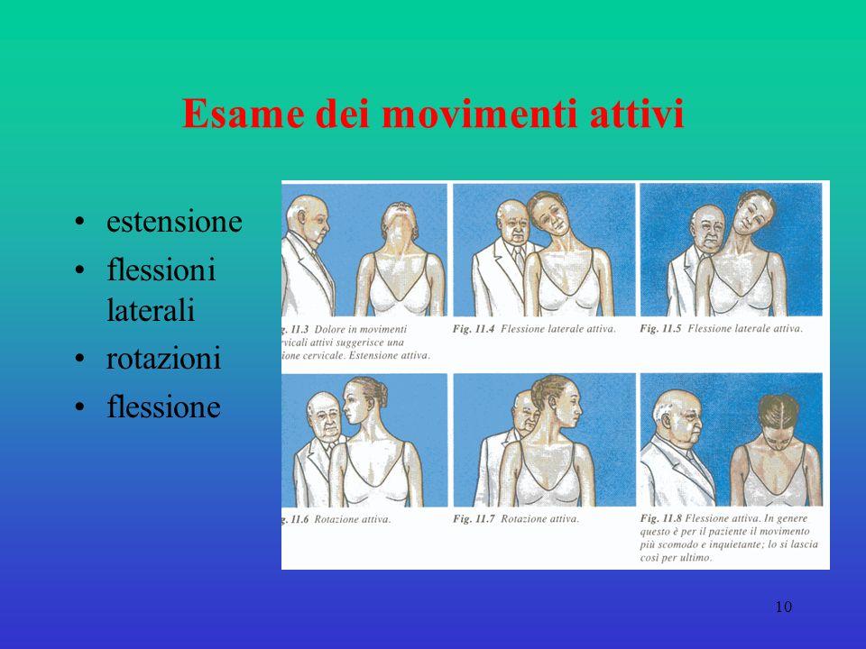 10 Esame dei movimenti attivi estensione flessioni laterali rotazioni flessione