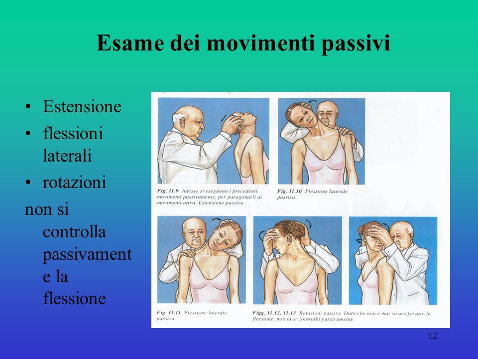 12 Esame dei movimenti passivi Estensione flessioni laterali rotazioni non si controlla passivament e la flessione