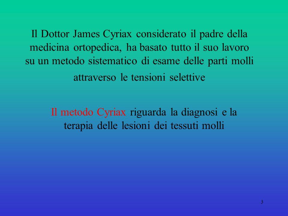 3 Il Dottor James Cyriax considerato il padre della medicina ortopedica, ha basato tutto il suo lavoro su un metodo sistematico di esame delle parti molli attraverso le tensioni selettive Il metodo Cyriax riguarda la diagnosi e la terapia delle lesioni dei tessuti molli