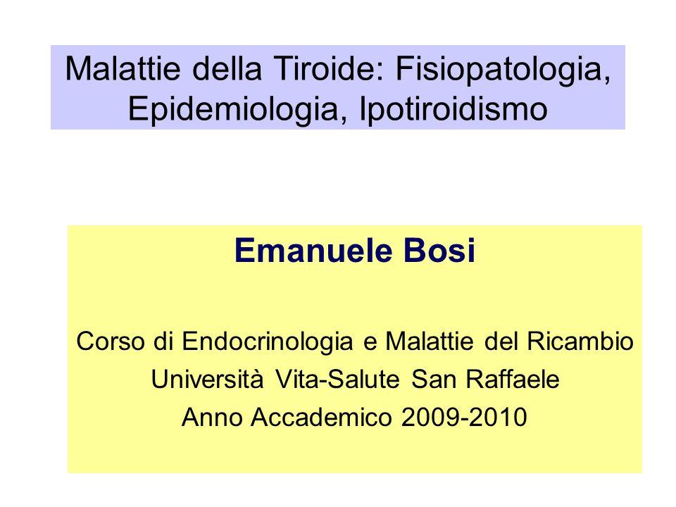 Prevalenza delle disfunzioni tiroidee 0.0 4.0 8.0 12.0 16.0 20.0 0 0.1 0.45 2.5 3.0 4.5 10.0 TSH (mIU/L) Prevalenza (%) Eutiroidismo Iper- tiroidismo Ipotiroidismo 14.7 9.0 3.6 4.0 1.8 79.5 0.8