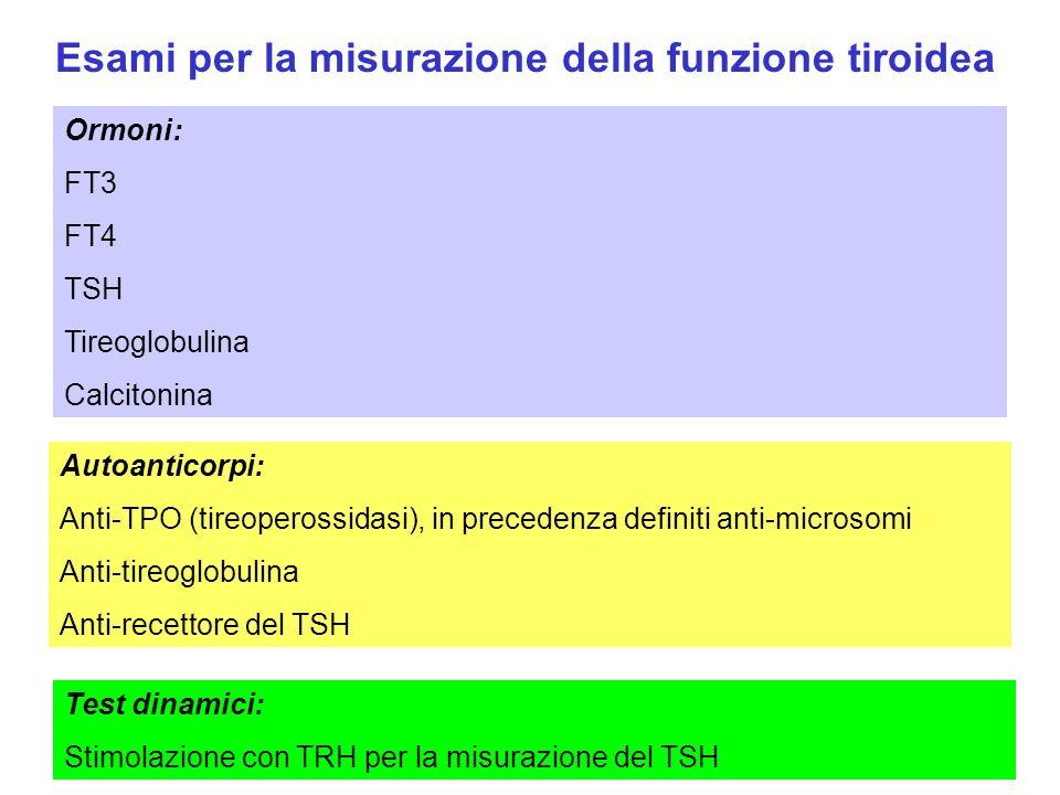 Esami per la misurazione della funzione tiroidea Autoanticorpi: Anti-TPO (tireoperossidasi), in precedenza definiti anti-microsomi Anti-tireoglobulina