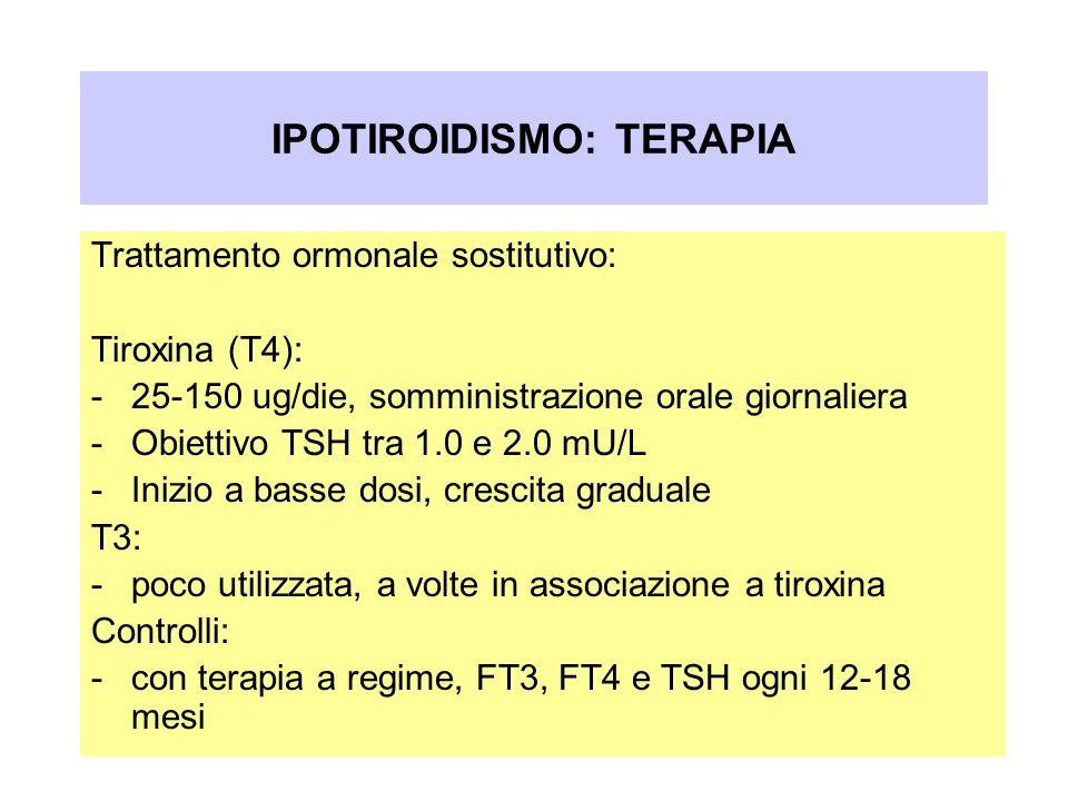 Trattamento ormonale sostitutivo: Tiroxina (T4): -25-150 ug/die, somministrazione orale giornaliera -Obiettivo TSH tra 1.0 e 2.0 mU/L -Inizio a basse