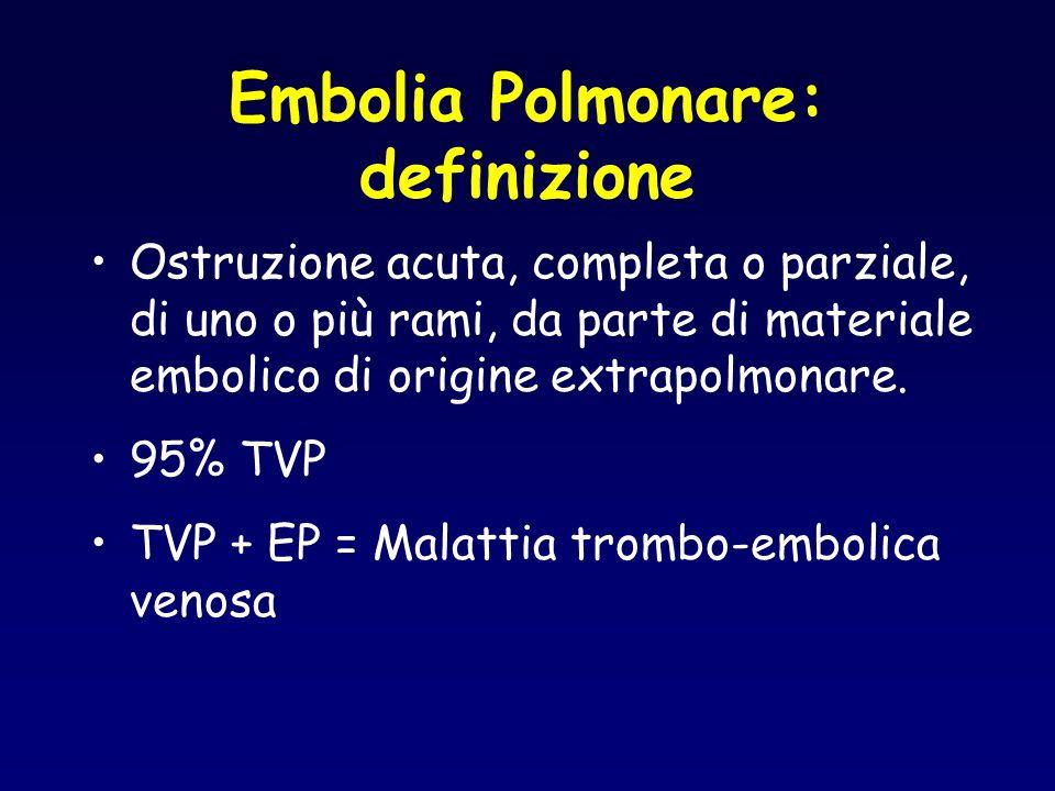 Embolia Polmonare: definizione Ostruzione acuta, completa o parziale, di uno o più rami, da parte di materiale embolico di origine extrapolmonare. 95%