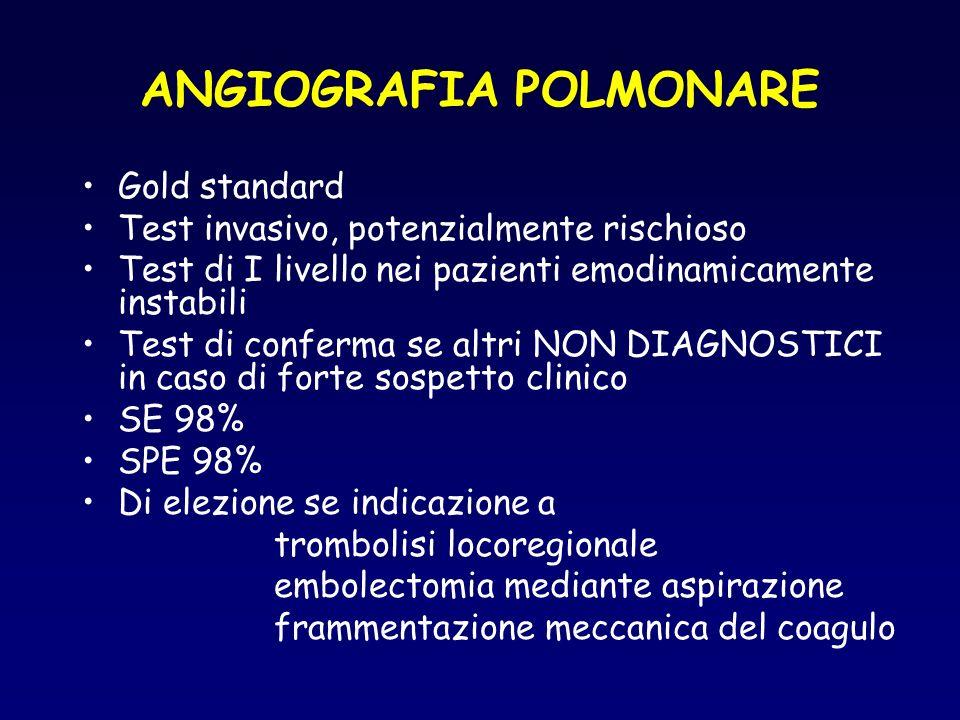 ANGIOGRAFIA POLMONARE Gold standard Test invasivo, potenzialmente rischioso Test di I livello nei pazienti emodinamicamente instabili Test di conferma