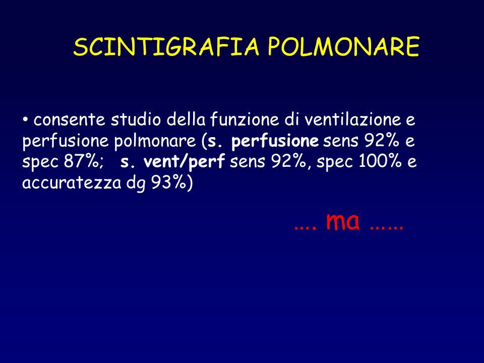 SCINTIGRAFIA POLMONARE consente studio della funzione di ventilazione e perfusione polmonare (s. perfusione sens 92% e spec 87%; s. vent/perf sens 92%