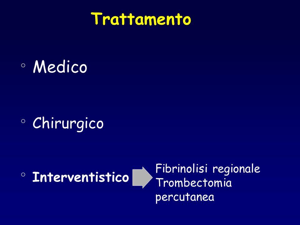 Trattamento ° Medico ° Chirurgico ° Interventistico Fibrinolisi regionale Trombectomia percutanea